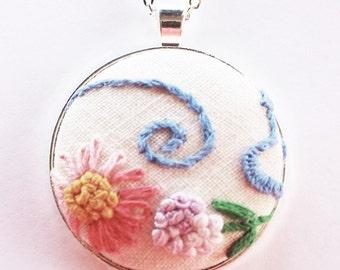 Fabric pendant, needlepoint necklace, textile necklace, fabric jewelry, fabric necklace, flower necklace, vintage fabric, feminine necklace
