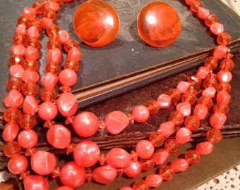 Vintage Four Strand Beaded Necklace and Earring Set