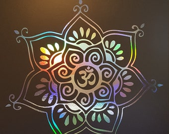 Om Delicate Flower Vinyl Decal | Laptop or Wall | Mandala Sacred Geometry | Geometric Yoga | Rainbow Holographic Sticker