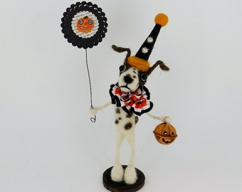 SALE Halloween Spotted Dog Terrier puppy Dog  Wool Needle felted Vintage German Style red vintage mercury glass  - Halloween  Teeter T Frost
