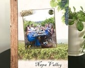 """Napa Valley Vacation Wine Tasting Vineyard gift home decor handmade magnetic picture frame holds 5"""" x 7"""" photo 9"""" x 11"""" size"""