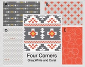 Crib Bedding- Design Your Own Crib Set- Four Corners- Gray, White, and Coral