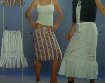 DRAWSTRING SKIRT Pattern • Burda 8515 • Miss 8-20 • Ruffled Boho Skirt • Laced Slit Skirt • Peasant Skirt • Modern Pattern • WhiletheCatNaps