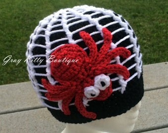 Along Came a Spider Beanie - Crochet Spider Hat - Size Toddler (1-3 Years)