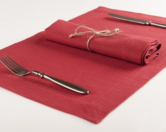 Red linen placemat set or table napkin set of six. Custom color table placemats and napkins by Lovely Home Idea