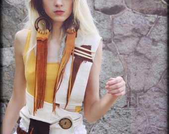 The Whispers in a Summer's Wind   A leather linen Body Wrap Scarf gypsy moroccan style