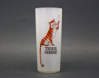 Vintage Kitsch Frosted 'Tiger Shake' Collins Glass (E7333)