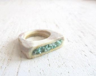 Deer Antler Fuchsite Ring Crushed Raw Rough Cut Gemstone Horn Ring Boho Chic