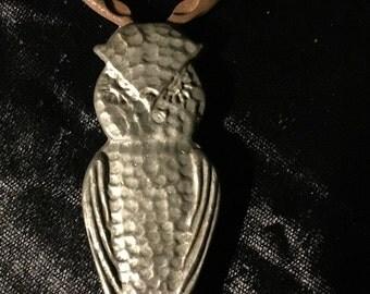 Antique Owl Bottle Opener Old Hammered Pewter at Gothic Rose Antiques
