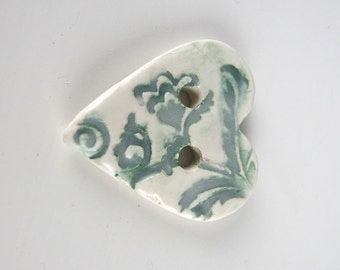 Medium Dark Green White Brocade Texture Heart Shaped Ceramic Button