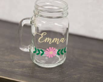Bridesmaid gift, Wedding Party gifts, Personalized Mason Jars. Maid of Honor gift, bachelorette party favor, wedding flowers, spring wedding