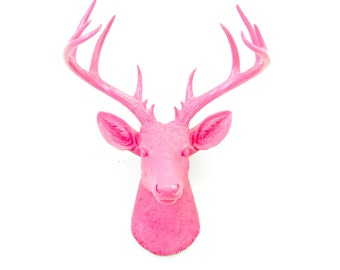 Large Deer Head - Hot Pink Deer Head Wall Mount - 14 Point Stag Head Antlers Faux Taxidermy ND1616