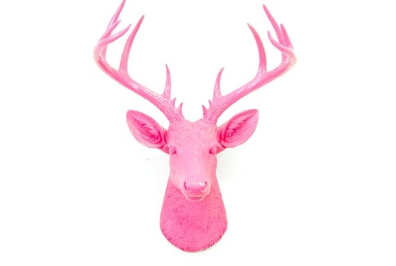 Large Deer Head Hot Pink Deer Head Wall Mount 14 Point