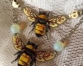 Bumble Bee Orginal Art Pendant Necklace Bombus