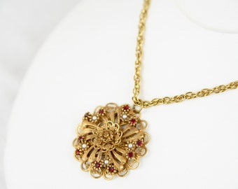 Antique 1910 Art Nouveau Ruby Red Crystal and Pearl Cast Brass Gilded Filigree Pendant