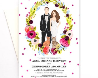 Personalized Invitation, wedding portrait, wedding save the date - custom couple portrait - custom wedding illustration, digital invite