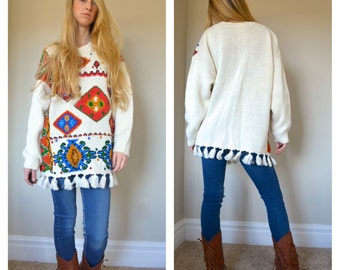 OHI 1980s Sweater Pullover Ramie Cotton Woven Knitted Knit Wild Psychedelic Geometric Abstract Bedazzled Mara Hoffman Inspo Fringe Large