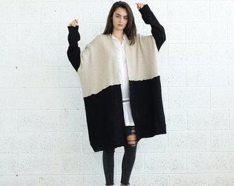 Big Summer Sale Color block Poncho-oversize sweater-winter sweater.