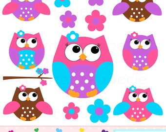 Girl Owl clipart - Girl Owl clip Art - Pink Owl clip art - pink owl clipart - great for an owl birthday party or owl baby shower