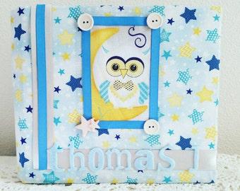 Baby Album, Blue Stars Album, Owl Album, Handmade Album, Fabric Album, Baby Boy Album