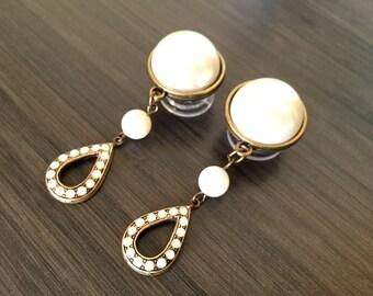 "1/2"" Pearl Dangle Plugs 7/16"" 11mm 000g Bridal Ear Plugs 14mm 9/16"" Dangly Gauges, Wedding Plugs Pearl Beaded Bronze Dangles"