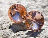 30% OFF SAMPLE SALE Light Peach Earrings Swarovski Crystal Light Peach Stud Earrings Super Sparklers Jewelry by Mashugana