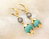 Vintage Micro Mosaic Earrings with Turquoise