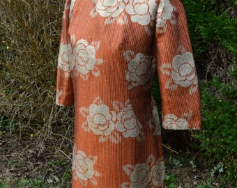 Gold and orange metallic print 60s shift dress size M