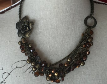 Brown cluster necklace multi strand. One-of-a-kind
