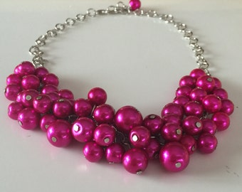 hot pink- fuschia Pearl cluster necklace, bauble necklace plum wedding jewelry, bridesmaid necklace
