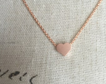Rose gold chain and small floating heart, layered jewelry rose gold