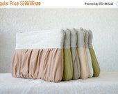 ON SALE 9 Bridal bridesmaids Linen Rustic clutch, Pleated, Ruched, Bridesmaids gifts, choose your colour
