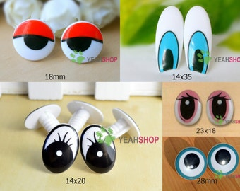 Plastic Comic Eyes / Safety Eyes / Printed Eyes / Comic Eyes - 5 Styles
