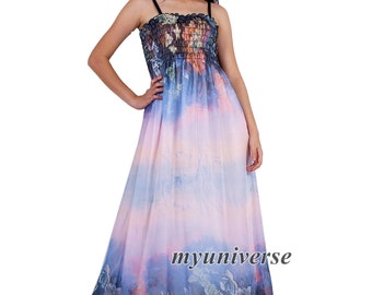 Dreamy Party Dress Maxi Dress Full Length Sundress Summer Dress Extra Long Plus Size Clothing Chiffon Dress 1X 2X 3X 4X Casual Beach Dress
