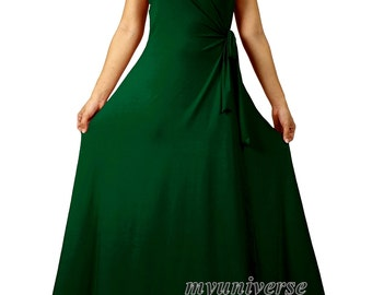 Emerald Green Bridesmaid Dress Infinity Dress Wrap Formal Dress Jersey Deep Green Wedding Evening Gown Ball Night Dinner Women Long