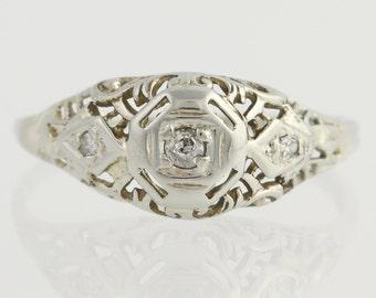 Art Deco Diamond Engagement Ring - 18k White Gold Old Mine Cut Genuine .04ctw Unique Engagement Ring L7365 R