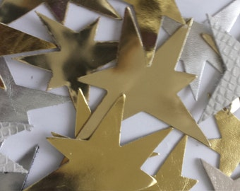 Leather Stars (50pcs) Lambskin/Genuine Leather.For Accessories, Crafts ,Jewelry,Decorations,Christmas .Leather Crafts.Silvery,Golden, Bronze