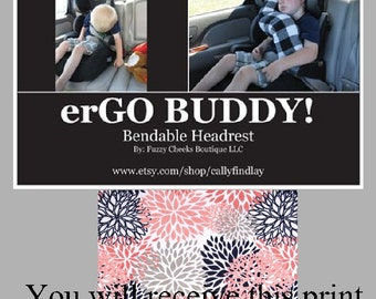 erGO BUDDY Bendable baby / toddler headrest carseat pillow and cover in Navy Coral Gray Floral
