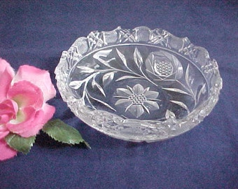 1920s Cambridge Glass Cut Wild Rose Nappy, Vintage Pattern No. 3200 Near Cut Bowl, Clear Old Serving Glassware, Antique Crystal Candy Dish