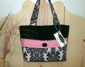 Sale! Fashion Tote Bag Purse Set with Phone/Accessory Pouch and Sachet, Gorgeous Pink and Black Graphic Print Fabric, Hand Sewn Tote