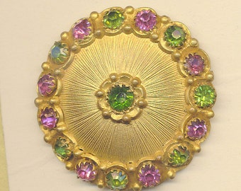 Antique Button - Jewel with Green and Pink/Purple Rhinestones