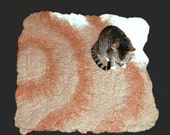 Wool Cat Mat - Hand Felted Pet Bed - Rug/Throw - Orange Tabby