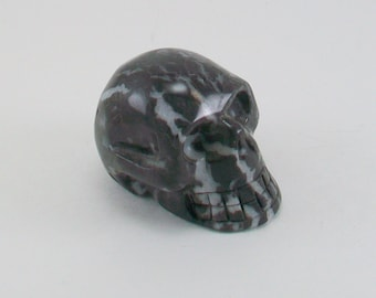 Zebra Jasper Natural Stone Skull 2 Inch