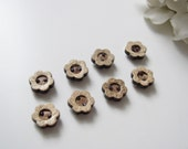 Wood Button Magnets - Set of 8 Extra STRONG Refrigerator Magnets Carved Flower ECO FRIENDLY Coconut Shell for Magnetic Boards Flower Shaped