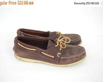 Summer Clearout Sale Vintage men's Sperry Top Sider shoes / brown leather boat shoes