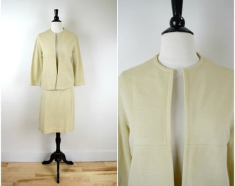 Vintage 1970's Knitmakers tan knit suit / retro jacket and skirt set