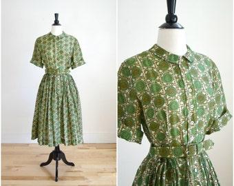 Vintage 50s Junior League green silk pattern dress