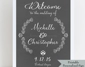 Printable Personalized Welcome Sign for Wedding - Chalkboard Sign - Printable Emailed Sign after we personalize for you - Rustic Branches