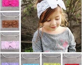 Set of 8 lace headband, baby girl headband, baby gift, newborn headband, infant headband, baby lace headband, Baby shower, lace bow headband