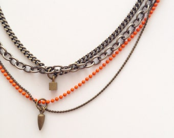 Brass and Orange Mult-Chain Necklace with Brass Charms - Handmade